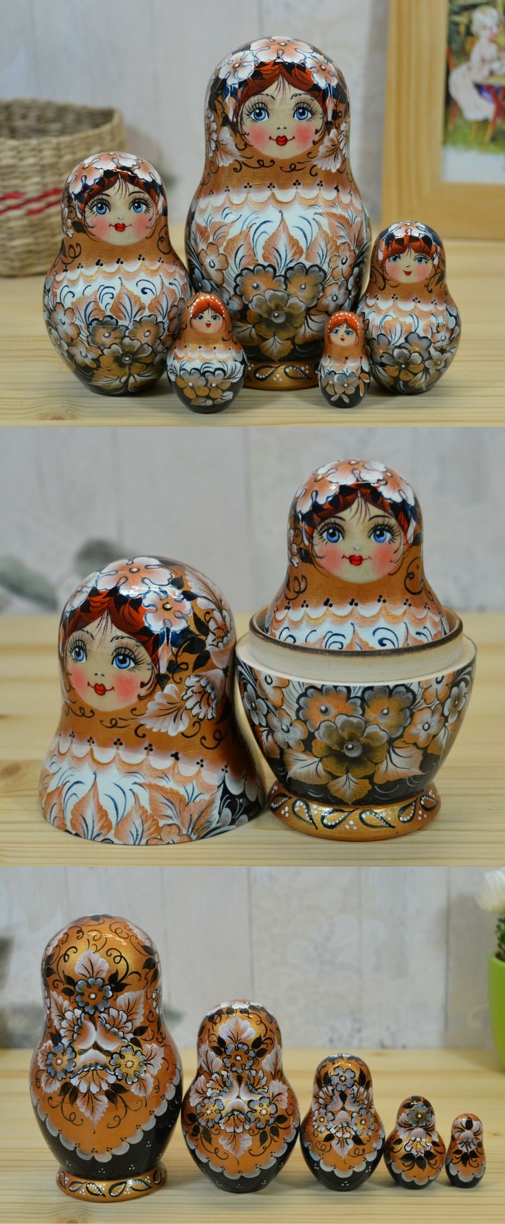 Wooden matryoshka doll in bronze, white and black design, hand painted by artist Nelly Marchenko. See more lovely nesting dolls at: www.bestrussiandolls.etsy.com