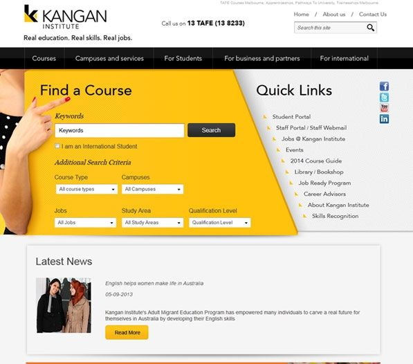 Kangan Institute hired Exa to create a website that attracts an increasing number of students to apply for its programs online. Exa built an SEO enriched online presence that helped in directing online visitors to its site through relevant searches. Exa has created an all-encompassing website for Kangan Institute that has made it easy for the company to market its courses in the online domain and attract an increasing number of potential students.