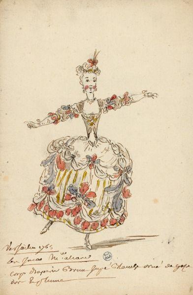 Costume pour un rôle destiné à mademoiselle Allard dans Les Incas (Les Indes galantes, Jean-Philippe Rameau)  Dessins et croquis de costumes pour les opéras représentés à Paris et à Versailles de 1739 à 1767  Louis-René Boquet (1717-1814), 1765.