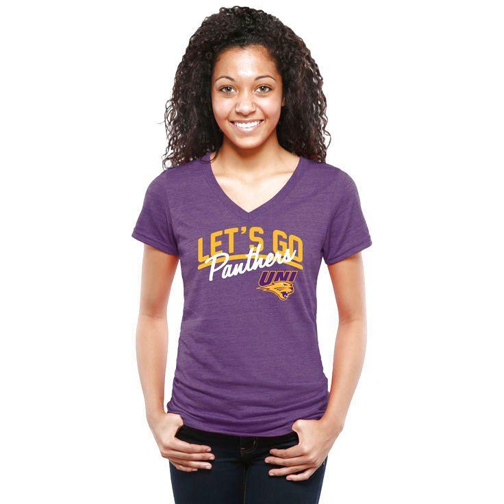 Northern Iowa Panthers Women's Let's Go Tri-Blend V-Neck T-Shirt - Purple - $24.99