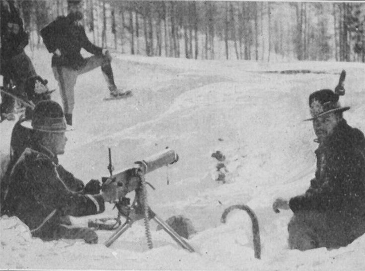 Italian Alpini ( mountain troops) with a machine gun ( Fiat -Revelli?) WW I