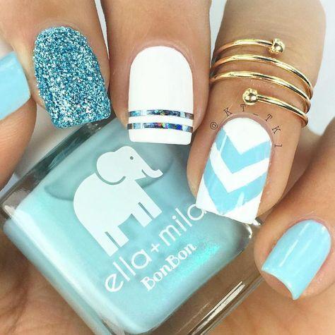 "1,202 Likes, 7 Comments - ella+mila polish (@ellamilapolish) on Instagram: ""{my baby blue} + {pure love} chevron nails.... look at that shimmer! Obsessed @kt_tk1 #ellamila…"""