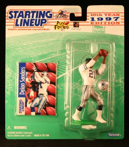 DEION SANDERS / DALLAS COWBOYS 1997 NFL Starting Lineup Action Figure & Exclusive NFL Collector Trading Card