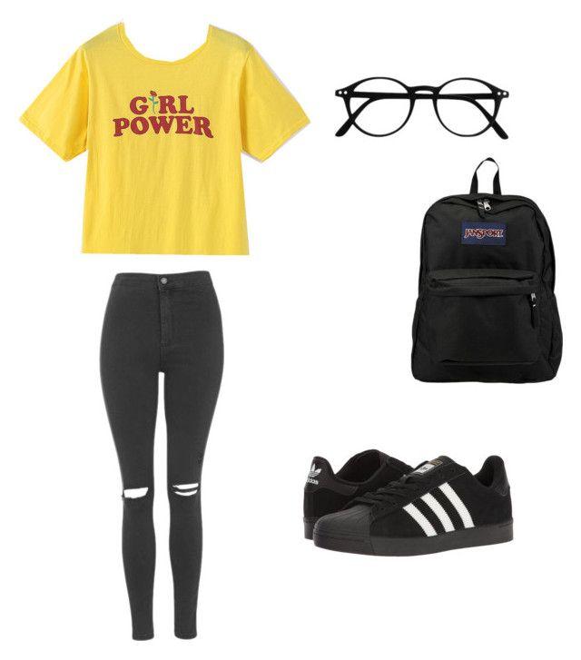 """Girls power"" by mjsuchecka on Polyvore featuring moda, Topshop, JanSport i adidas"