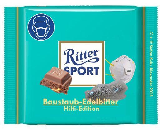RITTER SPORT Fake Schokolade Baustaub-Edelbitter