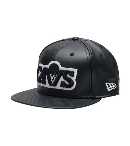 NEW+ERA+Leather+snapback+hat+Black+crown+and+brim+Cavaliers+logo+on+front+Cleveland+Cavs+logo+graphic+on+back+Snap+closure+for+adjustable+fit+Jimmy+Jazz+Exclusive