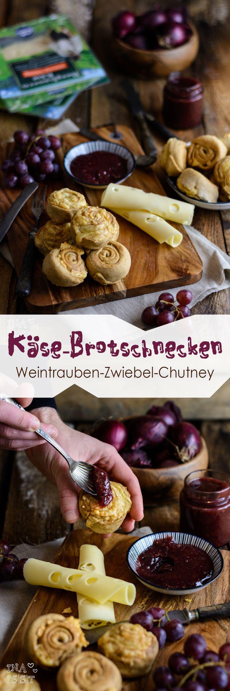 Würzige Käse-Brotschnecken mit süßem Weintrauben-Zwiebel-Chutney