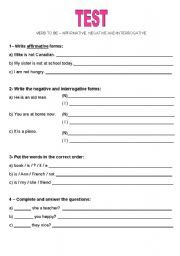 verb to be negative affirmative exercises - Google Search