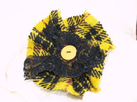 Yellow Tartan Harris Tweed Brooch with Black Lace
