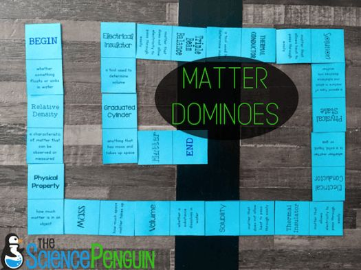 Free Matter Vocabulary Dominoes | The Science Penguin