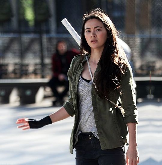Jessica Henwick as Colleen Wing filming Netflix's Iron Fist, NYC.
