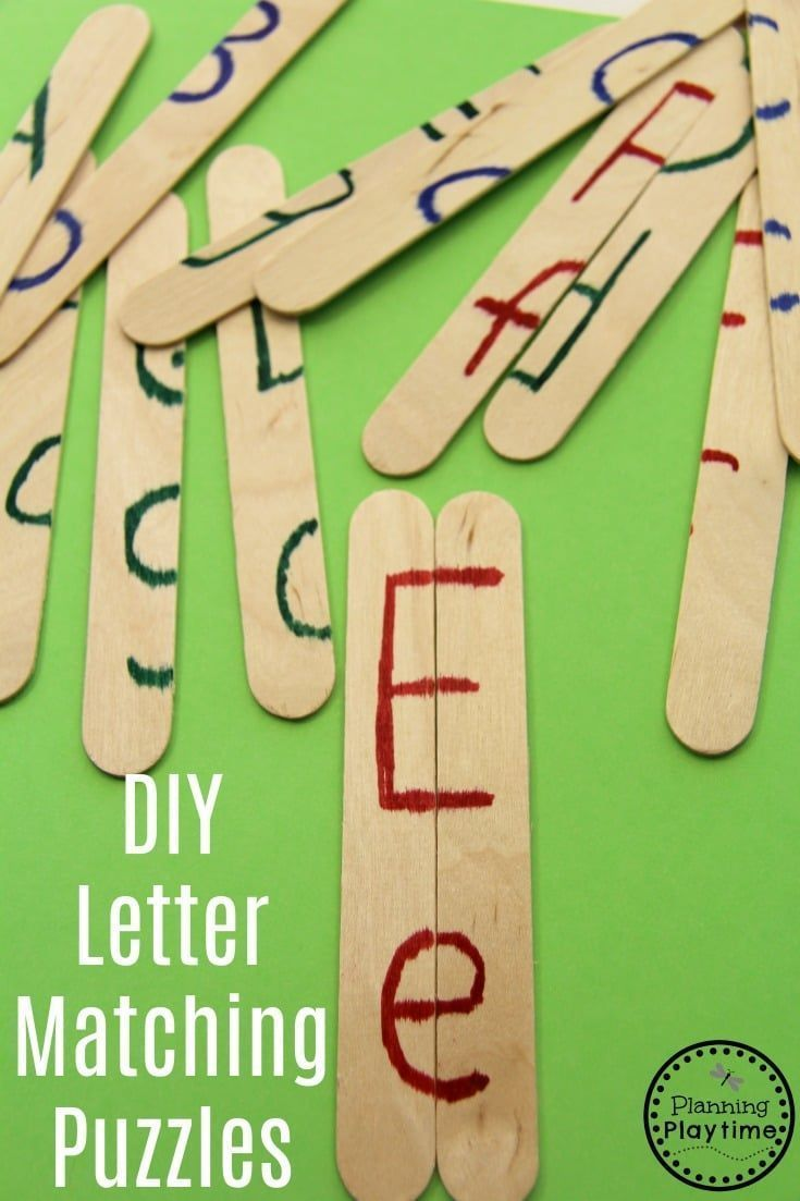 Craft Stick Letter Matching Activity puzzles for kids