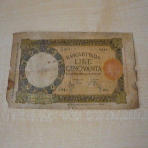 Banconota 50 Lire Lupa Capitolina Margine Largo Serie E606