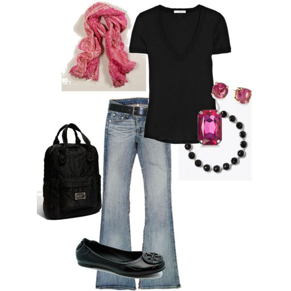Black & pink, like it!!!: Simple Outfit, Sexy Pink Outfit, Black Tees, Black Color, Pink Princess, Pink Scarves, Casual Looks, Pink Accent, Pink Black