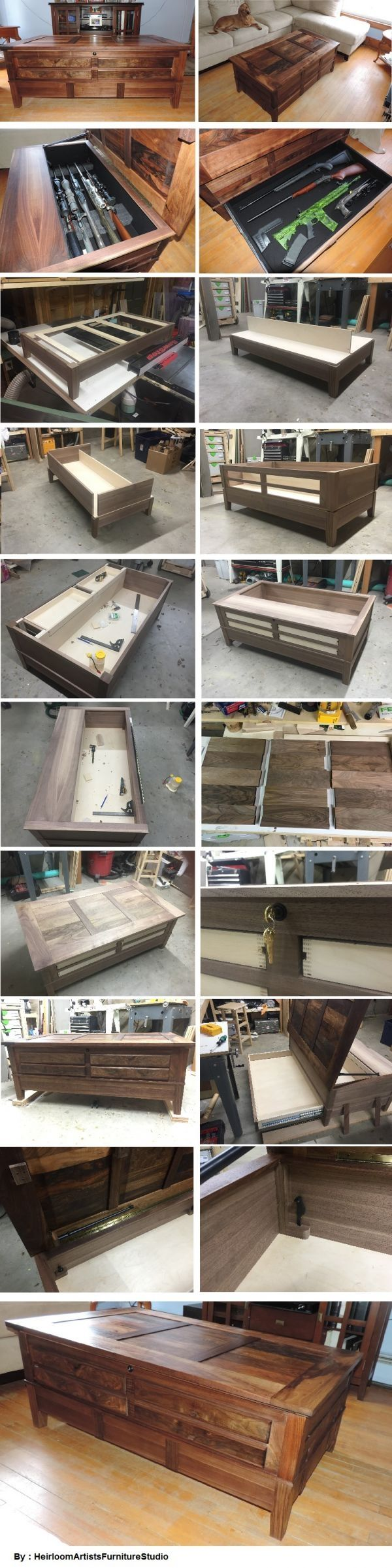 A walnut coffee table with hidden storage for rifles, built out of scrap rifle stock blanks. By HeirloomArtistsFurnitureStudio