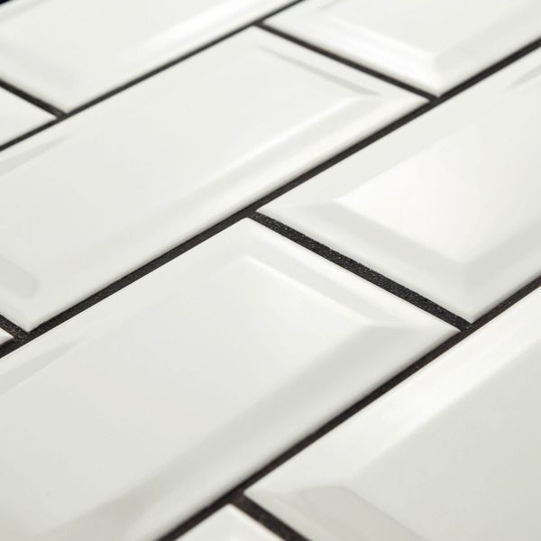 SomerTile 3x6-inch Malda Beveled Subway Glossy White Ceramic Wall Tile (Case of 136)