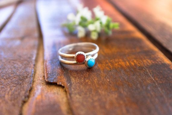 Coral Stackable Ring / Turquoise Stackable Ring / Gemstone stackable ring
