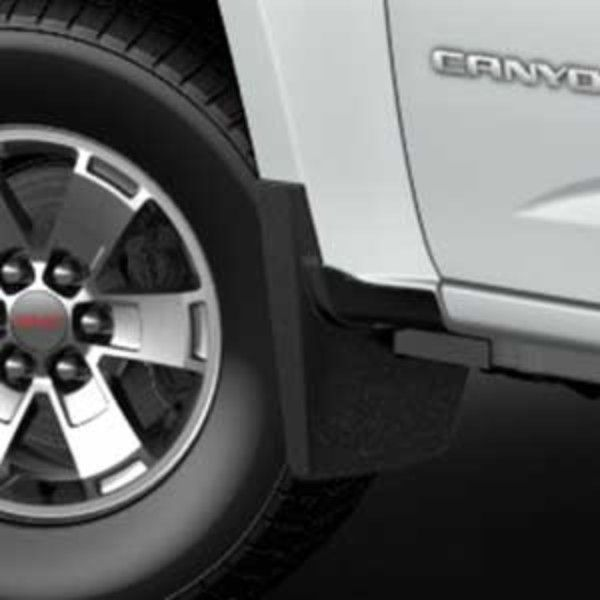 2015 #Canyon Splash Guards- Front Molded: Designed to accent the exterior of your Canyon, these Molded Splash Guards fit directly behind the front wheels to help protect against tire splash and mud.