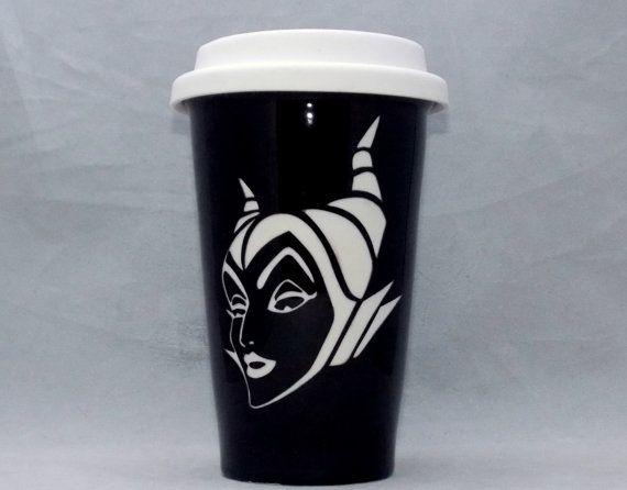 Maleficent disney villian etched travel mug