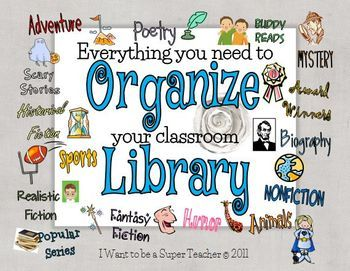 Everything you need to Organize your Classroom Library including a PowerPoint show to introduce this to your class, labels for book bins and individual books and anchor charts for students' reader's workshop notebooks.
