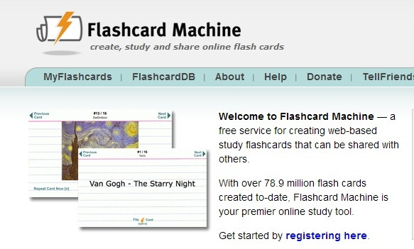 Flashcard Machine - - a free service for creating web-based study flashcards that can be shared with others.