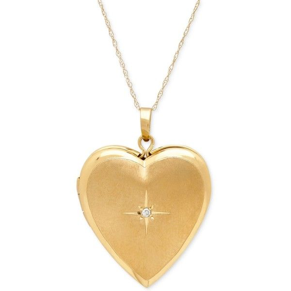 Diamond Accent Heart Locket Pendant Necklace in 10k Gold ($500) ❤ liked on Polyvore featuring jewelry, necklaces, yellow gold, pendant necklaces, heart necklace, gold heart shaped locket, locket necklace and yellow gold pendant necklace