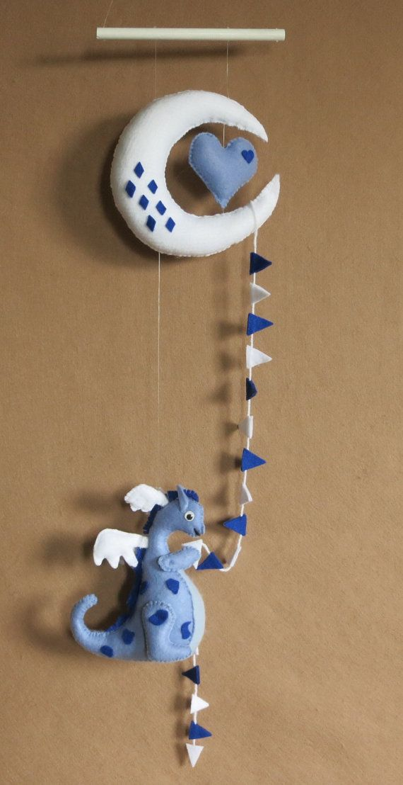 Baby Mobile, Moon Heart And Dragon Nursery Mobile, Nursery Decor, Baby Shower Gift, Blue White Hanging Mobile, Melbourne Austraila