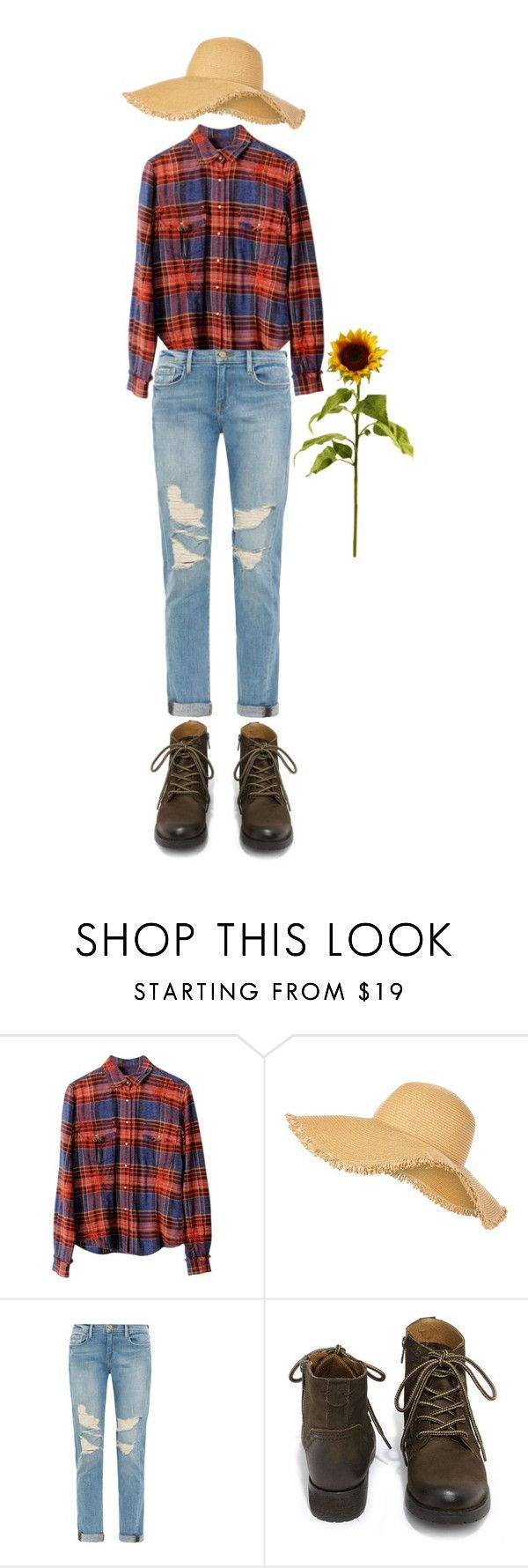 """DIY Scarecrow Costume"" by randomfashioncollections ❤ liked on Polyvore featuring Ryan Michael, Frame Denim, Steve Madden, women's clothing, women, female, woman, misses, juniors and scarecrow"