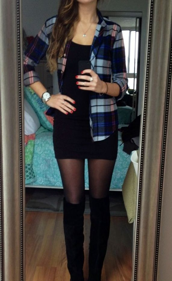 Plaid shirt over dress with tights and boots.