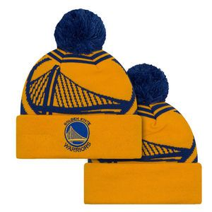 Golden State Warriors New Era Primary Logo Whiz 2 Pom Knit - Gold