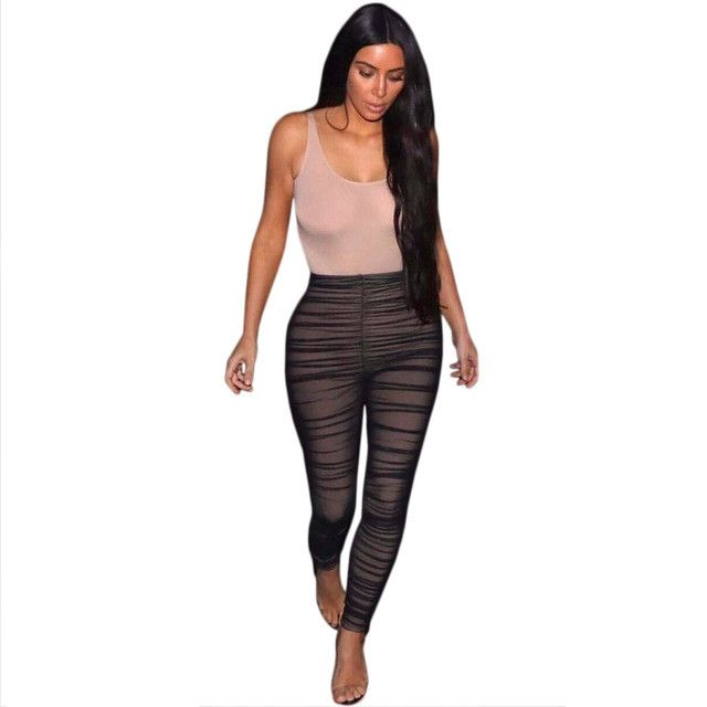 kim kardashian Black Nude Mesh Jumpsuits 2017 New Summer Women Sexy Sleeveless Stretchy Bodycon Rompers Party Club Cool Overalls