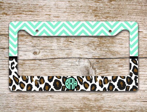 bff gifts monogram license plate or frame front car tag light mint green aqua cheetah vanity license plate monogrammed bike plate 1164