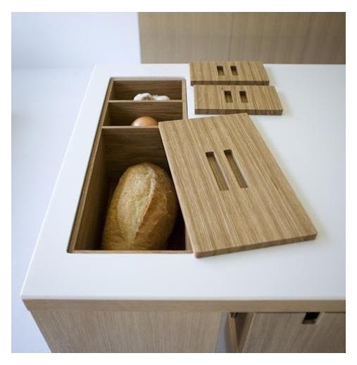 In-bench, inset bread bin.
