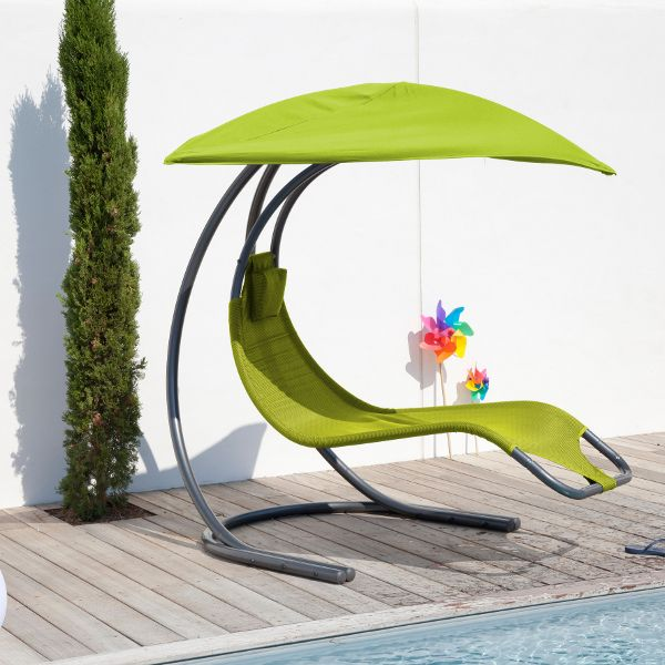 transat design suspendu avec parasol int gr vert sur. Black Bedroom Furniture Sets. Home Design Ideas