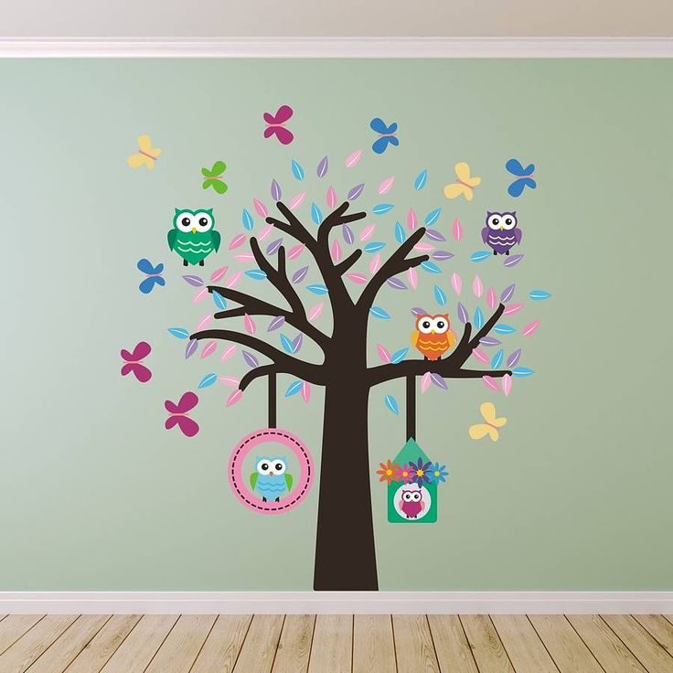 owl tree fabric wall sticker set by mirrorin | notonthehighstreet.com