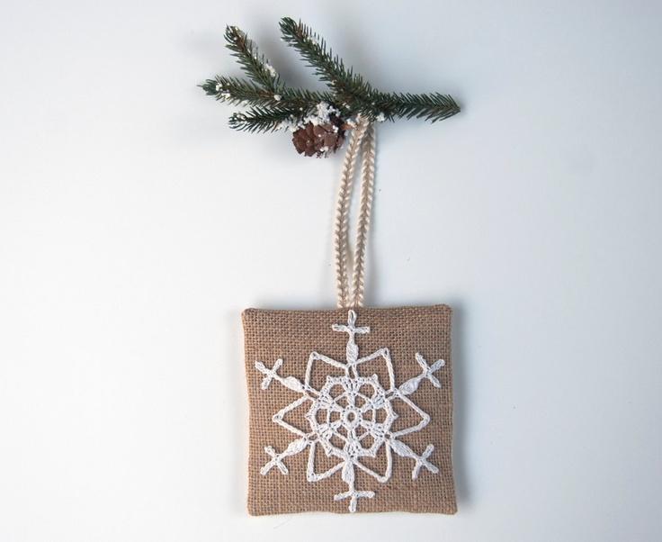 Balsam sachet pillow, hand crocheted white snowflake. $20.00, via Etsy.