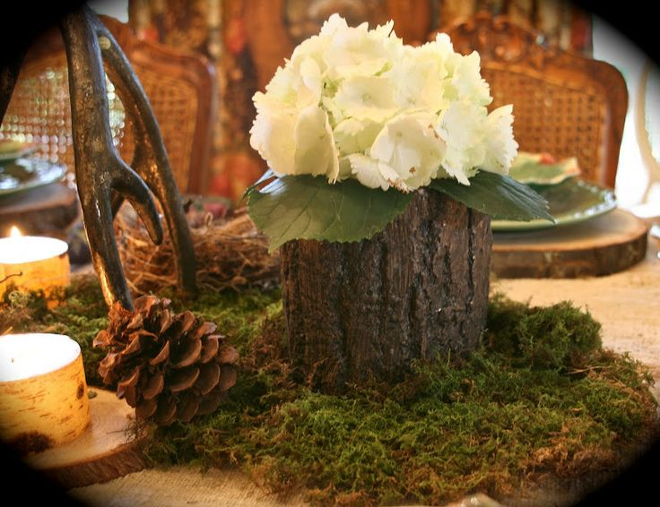 Deer centerpiece for table vignette design a woodland