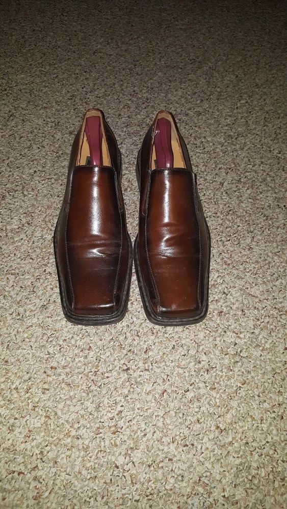Mens Dress Shoes Up Toe Square Casual Brown Wooden Stretcher Handle Tommy  #TommyB #LoafersSlipOns