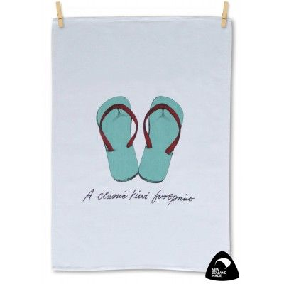 Tea towel A Classic Kiwi Footprint. A quality New Zealand made 100% cotton tea towel featuring our traditional Kiwi summer footwear, a pair of jandals. Add a bit of fun to your kitchen with this cheerful tea towel. Matching apron available.   See more at www.entirelynz.co.nz/gifts