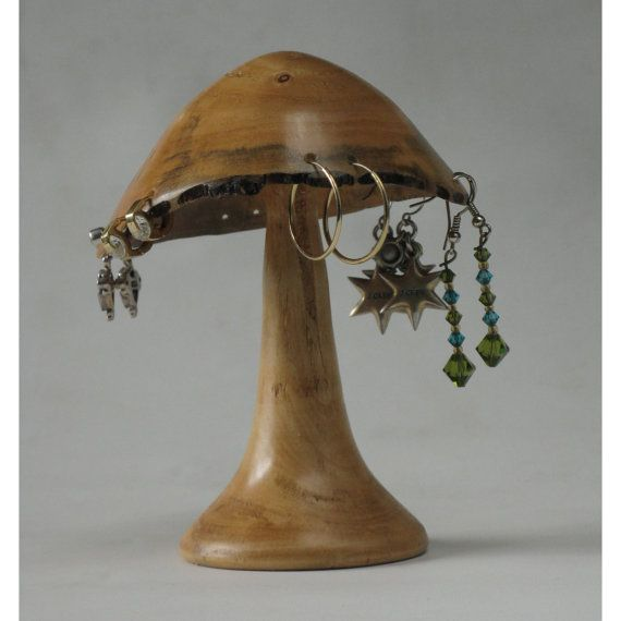 Woodturned Mushroom Earring Holder of Box by naturalrotations