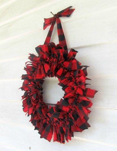 Lumberjack red and white tartan plaid winter 12 inch fabric Rag Wreath | RagWreath - Housewares on ArtFire