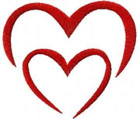 Two red hearts free embroidery design. Machine embroidery design. www.embroideres.com