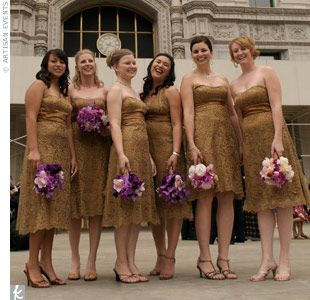 The six bridesmaids wore strapless, gold and bronze, metallic lace, cocktail dresses with a gold satin sash by Bari Jay. They carried bouquets of fuchsia, pale pink, and deep violet Mokara orchid