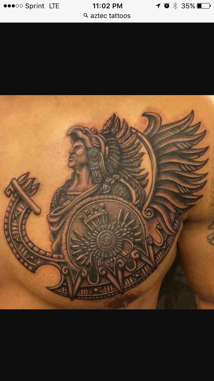 Aztec warrior on left side chest