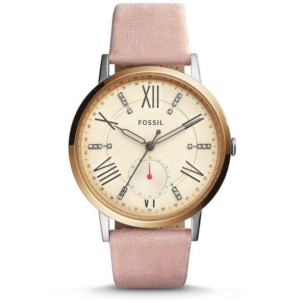 awesome Montre pour femme : Fossil Gazer Multifunction Blush Leather Watch ($145) ❤ liked on Polyvore feat...