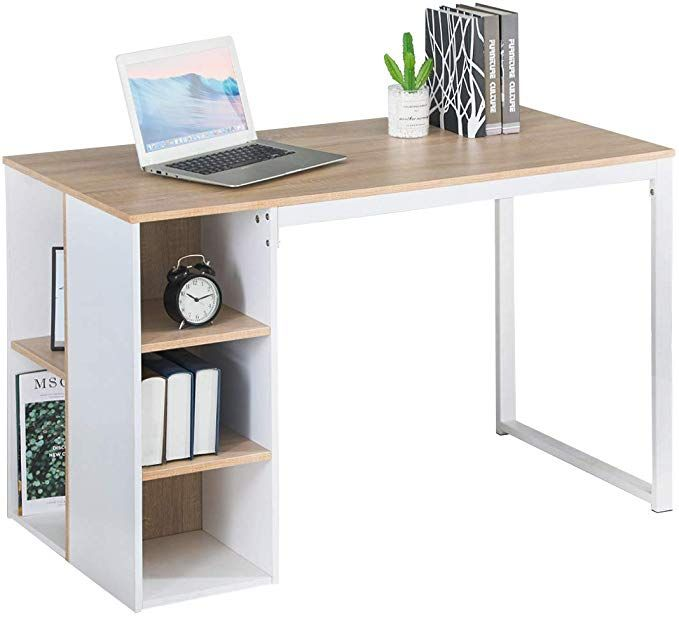 Amazon Com Office Computer Writing Desk With Storage Large Work Desk With 5 Shelves Students Study Table Home Pc Lap In 2020 Study Table Large Work Desk Stylish Desk