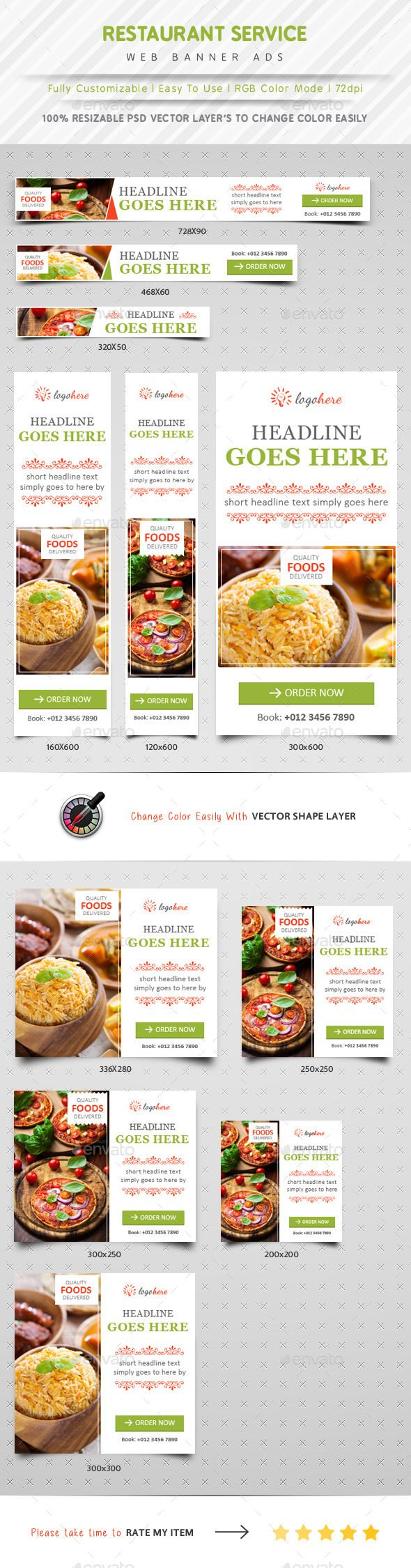 Restaurant Service Web Banner Ads Template #banner #web #webdesign Download: http://graphicriver.net/item/restaurant-service-web-banner-ads/10690283?ref=ksioks