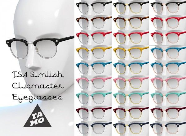 Mod The Sims: Simlish Clubmaster Glasses  by tamo • Sims 4 Downloads