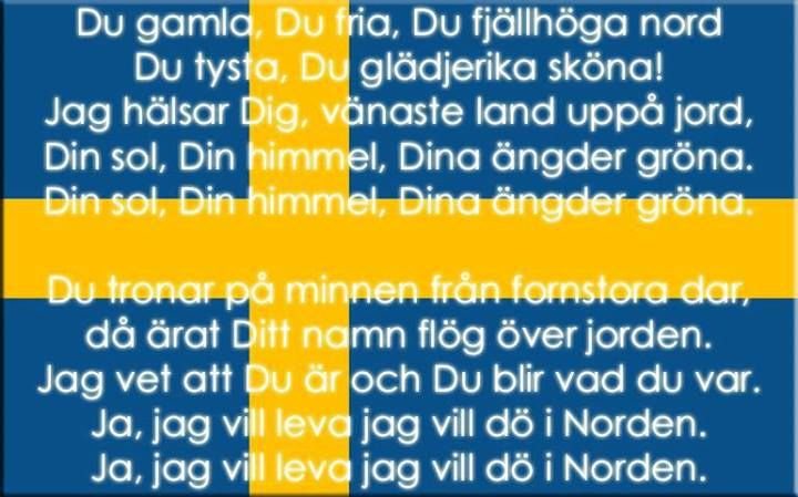 Words to the Swedish National anthem. I can still hear my Father's voice singing it...