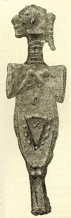 The numinous vulva again, inscribed with svastika, on a lead figurine found 23 feet below the surface at Troy. Same source as post below. H...
